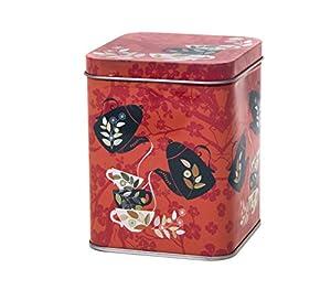 Fleur d'Oranger–Carré de style rétro/vintage Couvercle à charnière Boîte à thé 100g/cuisine Boîte de rangement–11cm