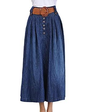 Simgahuva Mujeres De Cintura Alta Falda Vaquera Con Botones Falda Larga Con Cinturon