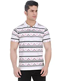 Girggit Cloud Dancer Pique Cotton Polo T-Shirt With All Over Aztec Print And Silicon Wash