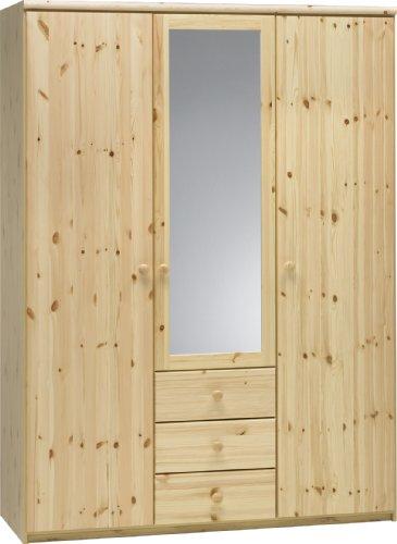 Steens Axel Kleiderschrank, 3 Türen und 3 Schubladen, 145 x 200 x 61 cm (B/H/T), teilmassiv, natur lackiert