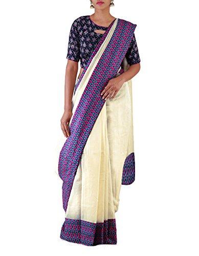 Unnati Silks Women Cream Banarasi Supernet Ikat border Saree(UNM22769)