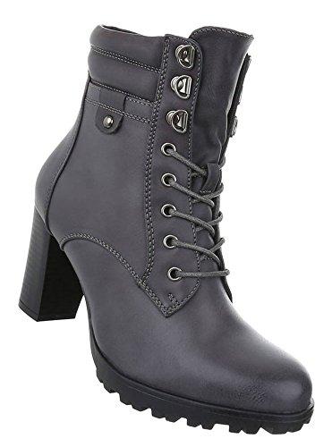 Damen Schuhe Stiefeletten Schnür Boots Used Optik Grau 37