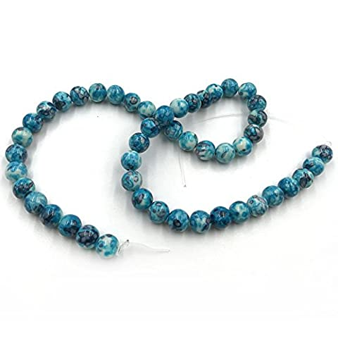 Skyllc® Bleu 8mm ballon rond joyau de pierre de la mer Sédiments Picasso Gem Perles bricolage fabrication de bijoux