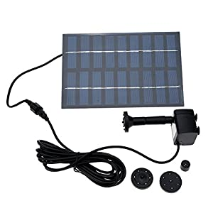 Decdeal Bomba de estanque de agua sumergible con energía solar mejorada para baño de pájaros 7V 170L / H Negro