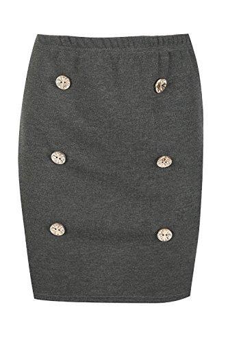 Oops Outlet Damen militär Goldknöpfe Weich Figurbetontes Mini Stretch Bandage Rock Übergröße 8-22 Dunkelgrau