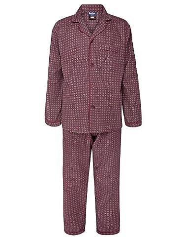 Alberto Rossini Mens Winter Winceyette Flannel Pyjamas Brushed Cotton Nighwear Sizes M to XXl (X-Large, Maroon Diamond)