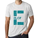Photo de Homme T Shirt Graphique Imprimé Vintage Tee Letter E Countries and Cities ELOY Blanc Chiné par One in the City