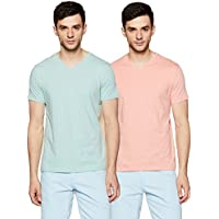Amazon Brand - Symbol Men's Plain Regular Fit T-Shirt (Pack of 2) (ALKVNPO2B_Green Melange and Coral_M)