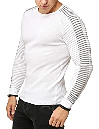 3be7d5bd4 Red Bridge Men s Longsleeve Knit Pullover Slim-Fit Casual Strips Ribbed  Sweater