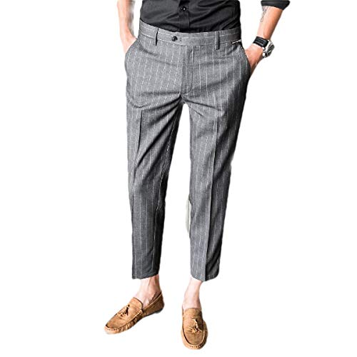 CuteRose Men Tapered Loose Tenths Pants Business Stripe Easy Care Dress Pant Grey 30 Relaxed Fit Pleated Chino-hose
