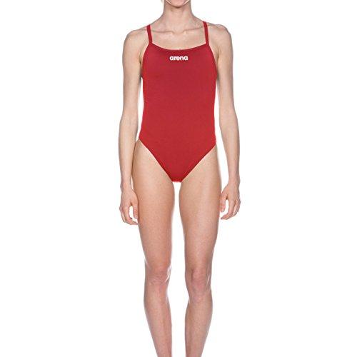 arena Damen Solid Lighttech High Badeanzug, Red/White, 32