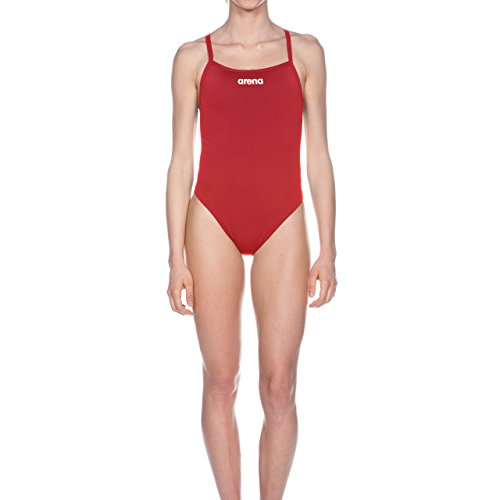 arena Damen Trainings Profi Badeanzug Solid Lighttech High (Schnelltrocknend, UV-Schutz, Chlorresistent), rot (Red-White), 34
