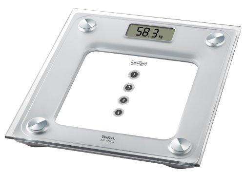 Tefal Atlantis - Báscula de baño digital con pantalla LCD grande, 160 kg, 4 memorias, color cristal