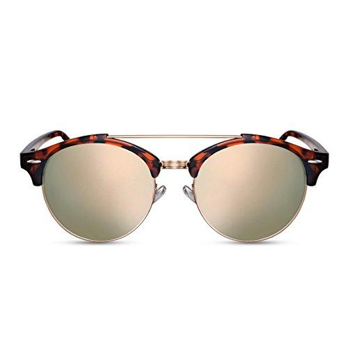 Cheapass Sonnenbrillen Braun Schwarz Verspiegelt Runde Brille Rosé-Gold UV-400 Damen Frauen
