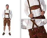 Almwerk Herren Trachten Lederhose kurz braun mit Bayern Schriftzug