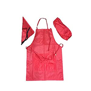 Imported Four Piece Kids Apron Children Cooking Baking Painting Apron Red