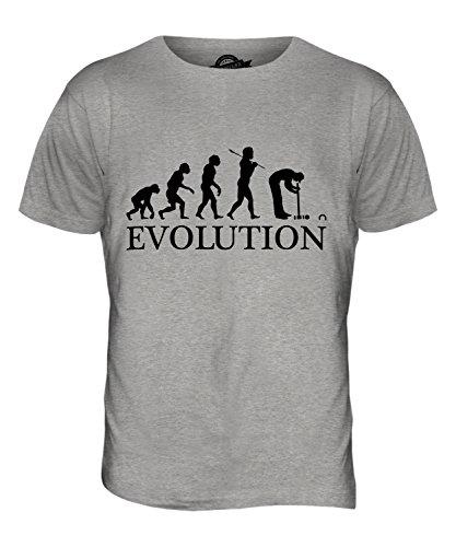 CandyMix Croquet Crocket Evolution Des Menschen Herren T Shirt Grau Meliert