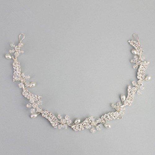 TOUSHI Braut Schmuck Kristall Kopfschmuck Pearl Strasssteine Handbuch Haarband BläTter Form Silber