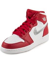 Nike Air Jordan 1 Retro High Bg, Zapatillas de Baloncesto para Niños, Rojo (Rojo (Gym Red/Metallic Silver-White)), 37 1/2 EU