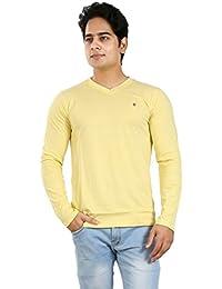 Basilio Men's Full Sleeves-V- Neck Cotton T-Shirt