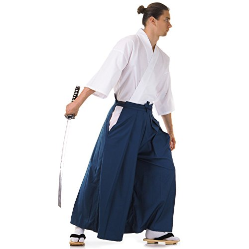 Japan Samurai Kimono Set 3 Teile Kendo Gi + Hakama + Haori Baumwolle M L XL (Blau & Weiß) - 6