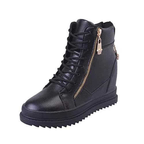 VJGOAL Damen Stiefel, Damen Vintage Zipper Ankle Runde Kappe Herbst Winter Schuhe Casual Rom Kurze Single Stiefel (Schwarz, 39 EU)