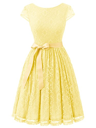 IVNIS RS90033 Damen Vintage Spitzen V Rücken Kurze Brautjungfern Party Kleid Abschlussballkleider Cap Ärmeln Yellow 3XL (Gelb Brautjungfer Schuhe)
