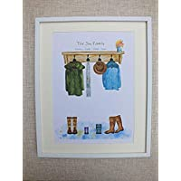 Custom family coats and boots print, personalised my family boot print, welly boot picture, country boot print, country coat and boots,