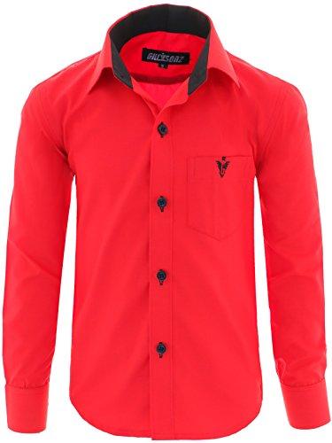 GILLSONZ A7vDa Kinder Party Hemd Freizeit Hemd bügelleicht Lange Arm mit 10 Farben Gr.86Bis158 (128/134, Rot)