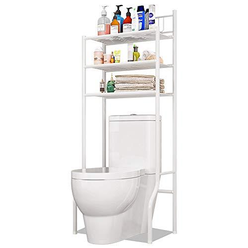 TZAMLI WC Regal weiß mit 3 Ablagen,Toilettenregal aus hochwertigem Chromstahl,WC-Regal aus Chromstahl, Ideal für WC und Bad, Ablage und Aufbewahrung (61 x 37 x 151cm, weiß)