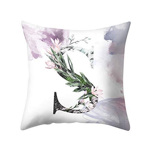 YUnnuopromi Aquarell-Gemälde A-Z-Buchstaben Werfen Kissenbezüge, 45cm x 45cm Pillowcase quadratischen Kissen Bedecken Sofa-Bett-Dekor S -
