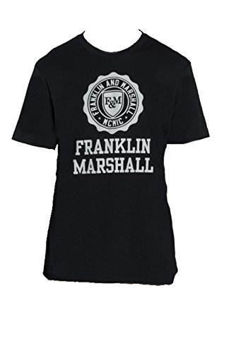Franklin Marshall TSMVA056ANAW6-0021 TSHIRT MAN BLACK Made in Italy 100% Cotone