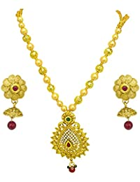 Surat Diamonds Traditional Drop Shaped Colored Stone, Shell Pearl And Gold Plated Pendant Necklace & Earring Set...