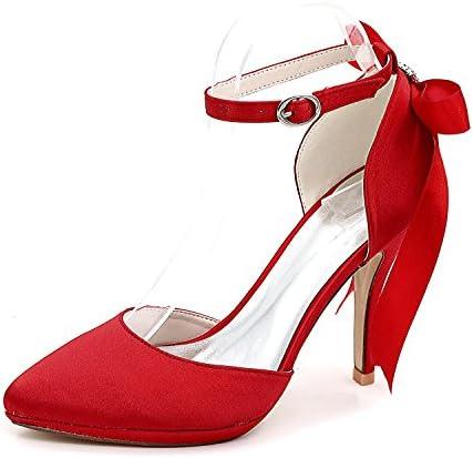 Elobaby Zapatos de Boda de Las Mujeres 0255-28 Closed Toe Ribbon Dama de Honor Zapatos de Fiesta de Damas 3-8
