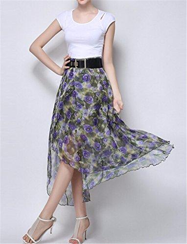 QIYUN.Z Mode Imprime Femmes Ourlet Irreguliers En Queue D'Aronde Taille Haute ete De Nouvelles Jupes Pourpre