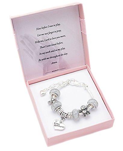 première communion Bracelet à breloques + 2nd Bracelet pour usage quotidien pour fille petite-fille Goddaughter nièce et Sister–7Options au choix Bracelet. (lot de 2) Special Niece