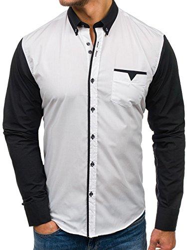 BOLF - Camicia casual - Maniche lunghe – Elegante – BOLF 5726 – Uomo Bianco