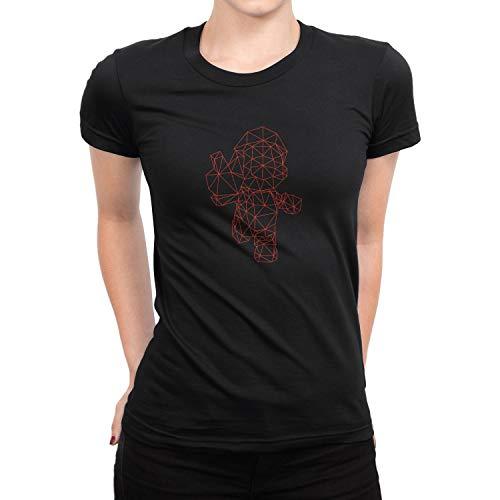Planet Nerd Polygon Mario - Damen T-Shirt, Größe S, schwarz