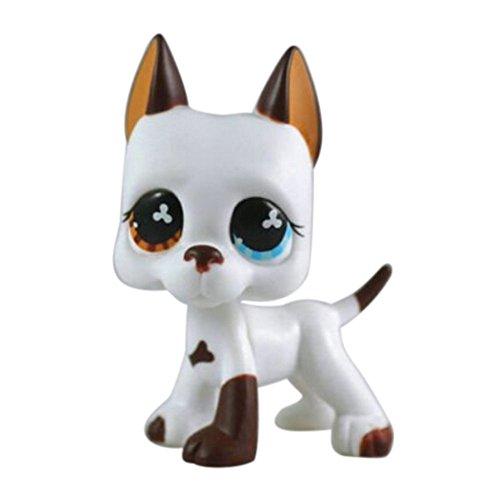dreamsLE_Pet toy store Bonne Chance Magasin LPS Pet Shop Blanc et Brun Grand Danois Chien Chiot Oeil Bleu Toy Dog Animal Enfant Fille garçon Figure lâche Mignon (Chien Exotique)