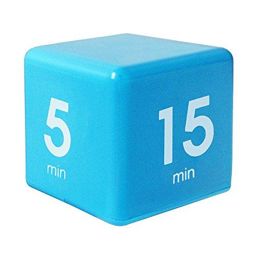Time Cube der Wunder-Zeitwürfel mit 5, 15, 30 und 60 Minuten für Das Zeitmanagement - Digitaler Wecker - Küchen-Timer - Hausaufgaben-Timer - Trainings-Timer - Meeting-Timer (Blau)
