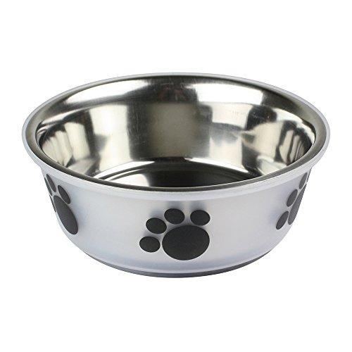 Anti Rutsch Edelstahl Hund Katzenfutter Wasser Napf - Pfote Design (klare Medium)
