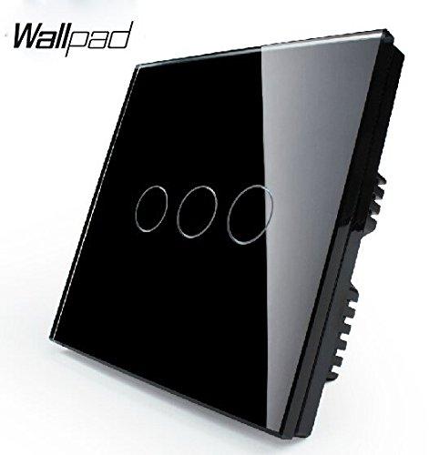 Preisvergleich Produktbild Wallpad Kapazitive 110–250 V 1–1000 W 3 Gang 1 Way Schwarz Glas Touch Sensor Wandschalter