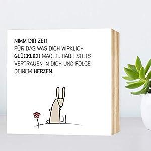 Zeit-hab-Hase - einzigartiges Holzbild 15x15x2cm zum Hinstellen/Aufhängen, echter Fotodruck mit Spruch auf Holz - schwarz-weißes Wand-Bild Aufsteller zur Dekoration im Büro/Zuhause/als Geschenk