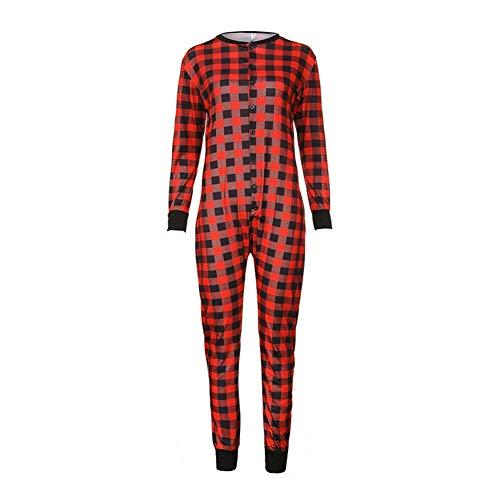Weihnachten Modische T-Shirt Plaid Knopf Jumpsuit Familie Passende Pyjama Familie Siamese Set Weihnachten Home Dress