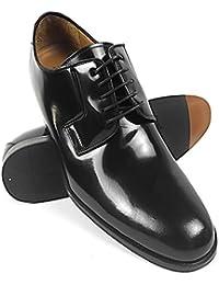 ZERIMAR Zapatos con alzas interiores para caballeros Aumento + 7 cm Zapato fabricado en piel vacuna de alta calidad Color ebano