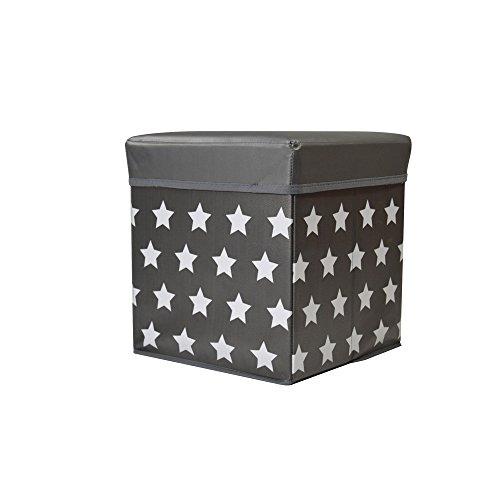 Jocca Caja de Almacenaje + Banqueta, PVC, Negro, 30x30x30 cm
