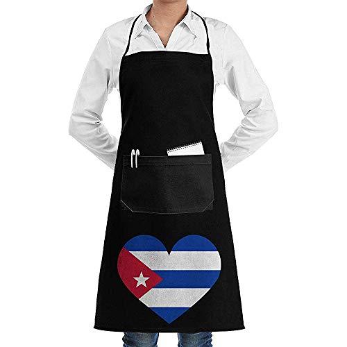 Cuba Bandera corazón grande Unisex Barbacoa Cocina