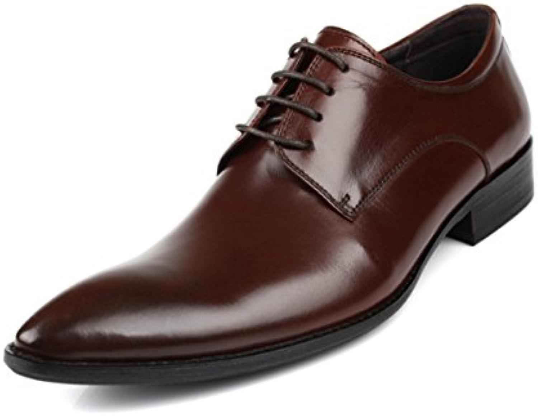 LYZGF Zapatos De Cuero De Encaje De Fiesta De Moda Casual De Hombres Caballeros,Brown-44