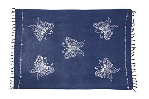 Sarong Pareo Wickelrock Dhoti Lunghi Stickerei Schmetterling Tuch Dunkel Grau