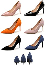 TONMOON Fashion Colorful Suede High Heels Women Pumps Pointed Toe Work Pump Stiletto Woman Shoes Weeding Shoes